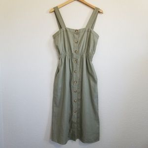 Cotton On Olive Green Linen Button Down Dress S